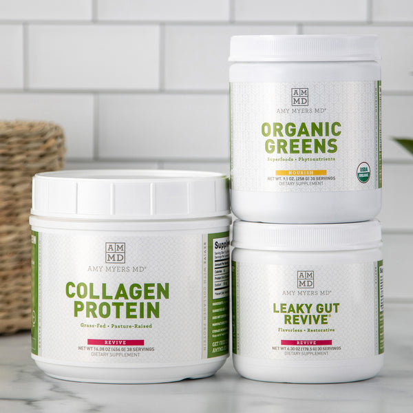 Dr. Myers' favorite drink supplements, Collagen Protein, Organic Greens, Leaky Gut Revive