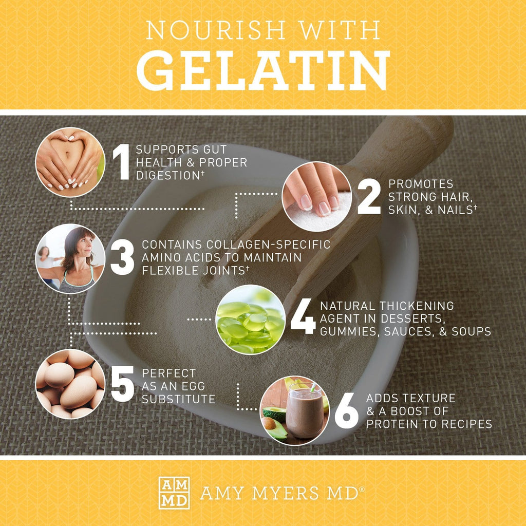 6 benefits and uses of Gelatin protein powder - Infographic - Amy Myers MD®
