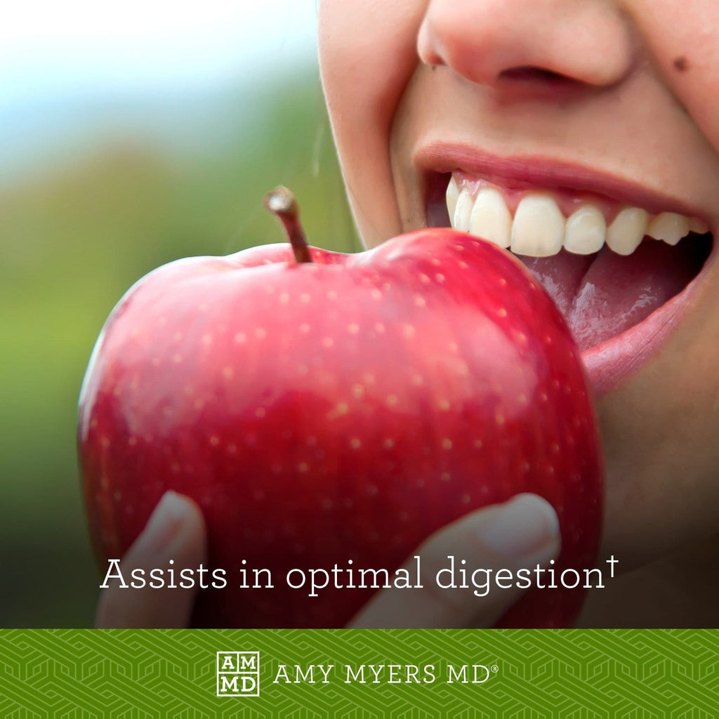 Girl eating apple - Betaine Hydrochloride (HCL) assists in optimal digestion - Amy Myers MD®