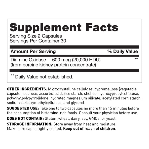 Histamine intolerance dietary supplement with DAO - Supplement Facts - Amy Myers MD®