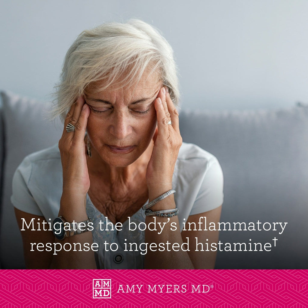 Woman with a headache - Histazyme mitigates the body's inflammatory response to ingested histamine - Amy Myers MD®