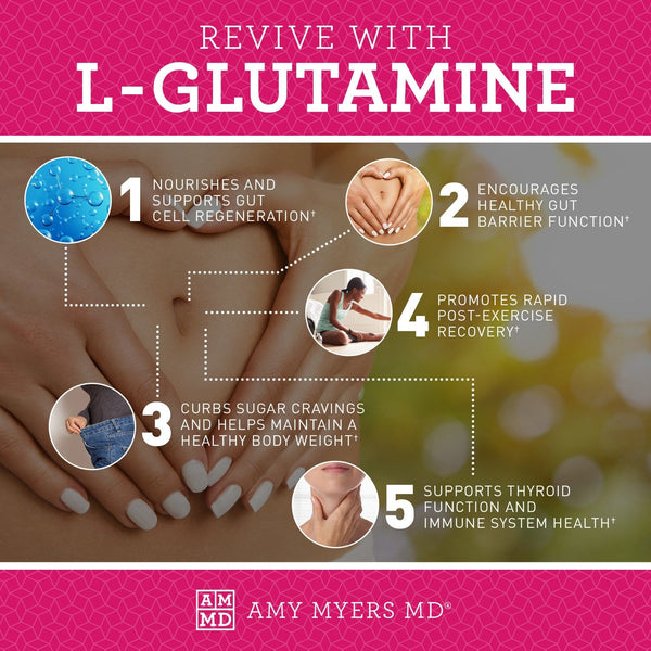 5 Benefits of our L-Glutamine supplement - including supporting healthier gut, thyroid, and immune function - Infographic - Amy Myers MD®