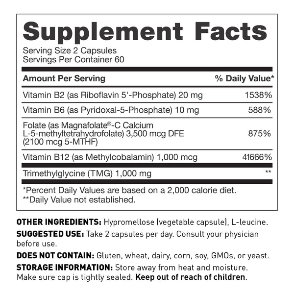 Methyl folate capsules to support MTHFR supplement facts - Amy Myers MD®