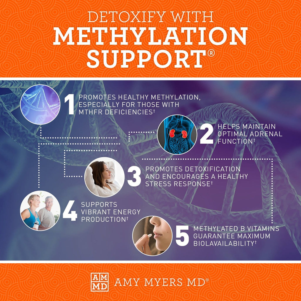 Methylation Support® - 5 Ways to promote healthy methylation, espoecially for those with MTHFR deficiencies - Infographic - Amy Myers MD®