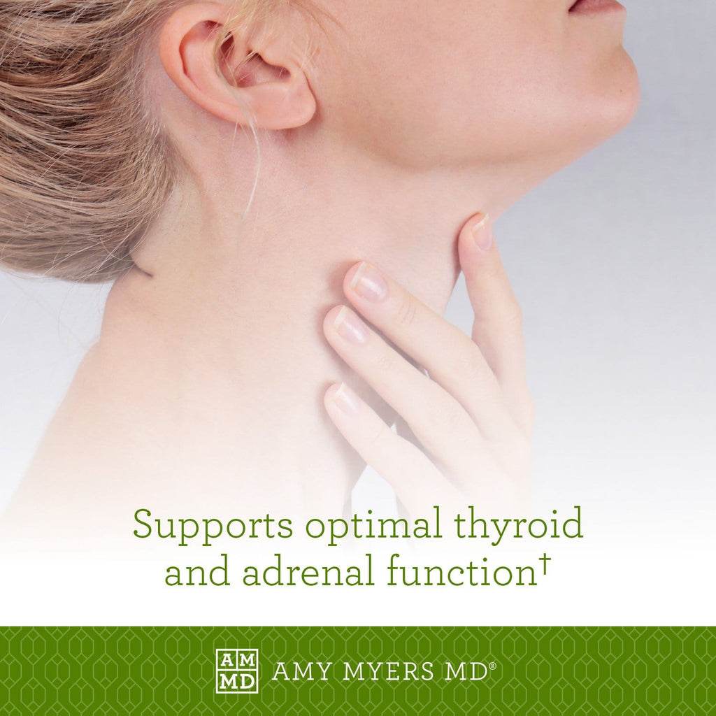 Woman feeling her neck - The Myers Way® Multivitamin supports optimal thyroid and adrenal function - Amy Myers MD®