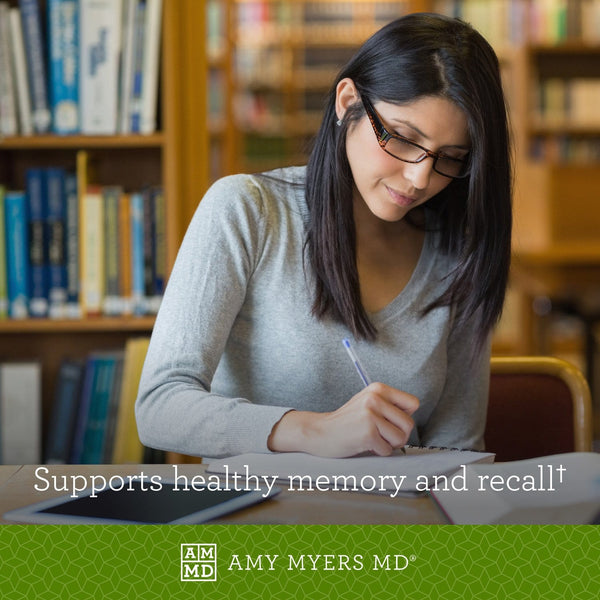 Woman studying - NeuroLive supports healthy memory and recall - Amy Myers MD®