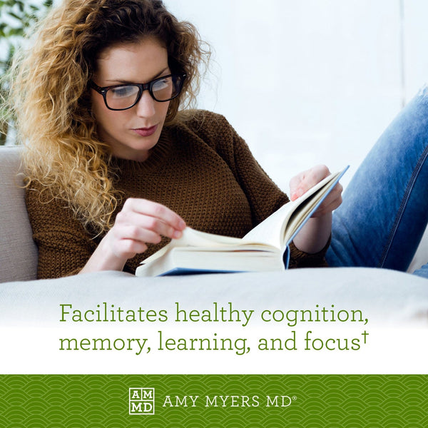 Woman reading - NeuroCalm Mag Magnesium Threonate facilitates health cognition, memory, learning, and focus - Amy Myers MD®