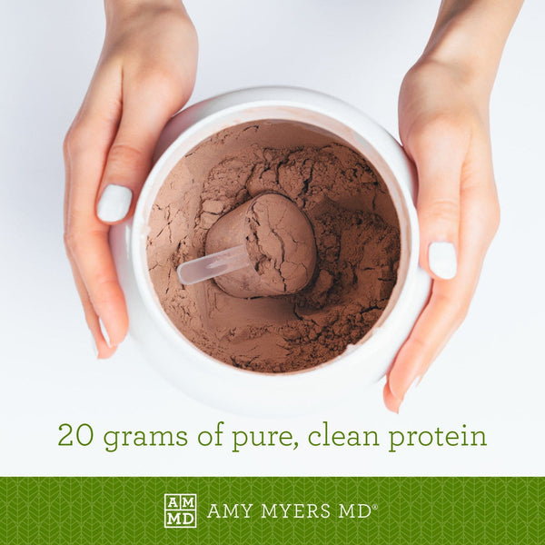 Container of Paleo Protein - Peppermint Mocha flavor - 21 grams of pure, clean protein - Amy Myers MD®