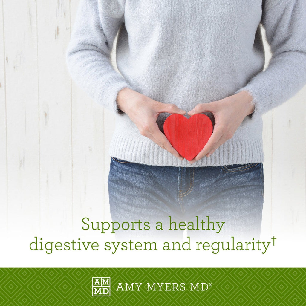 Woman holding a heart - Primal Earth™ Probiotic supports a healthy digestive system and reglarity - Amy Myers MD®