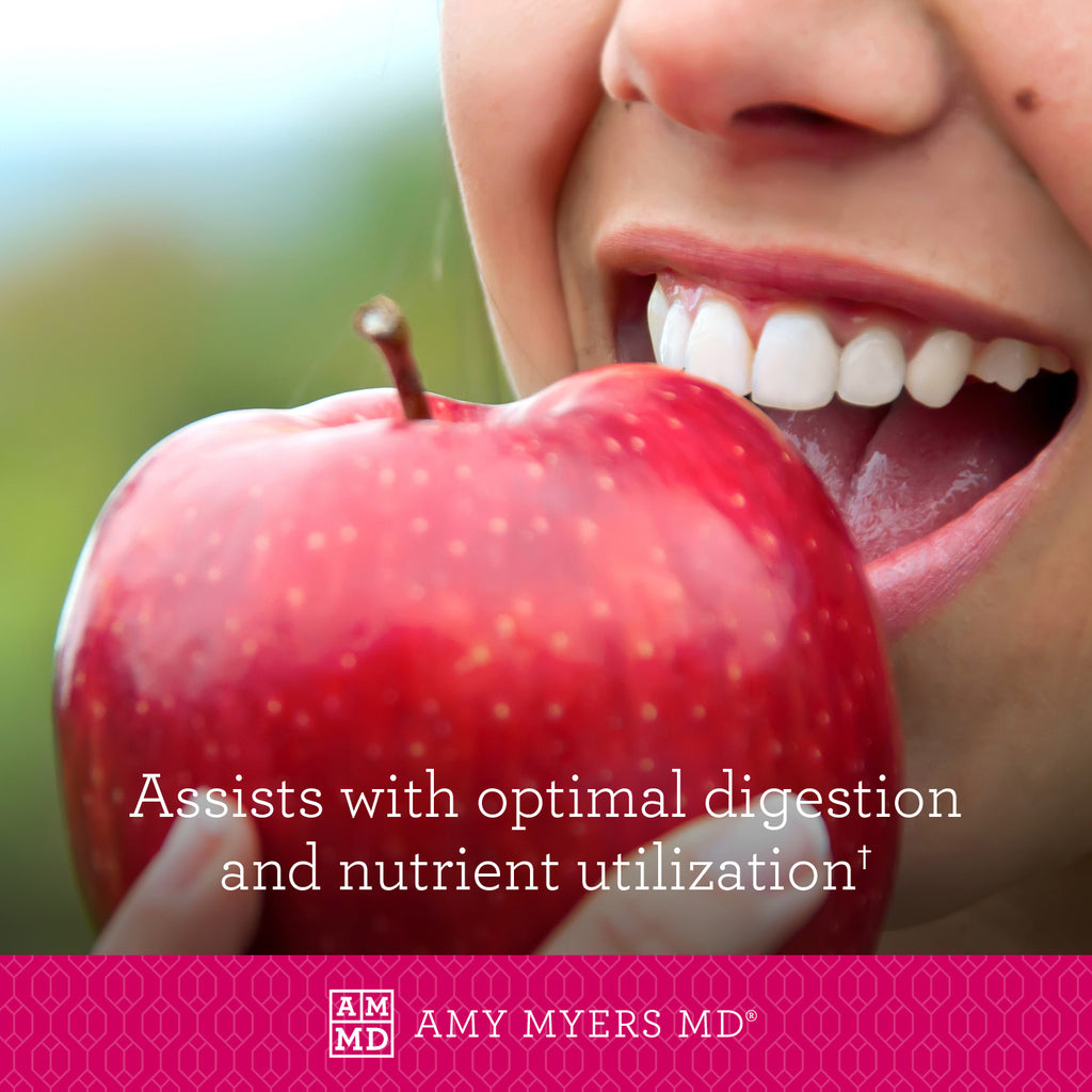 Girl eating apple - Probiotic Capsules 30 Billion assist with optimal digestion and nutrient utilization - Amy Myers MD®