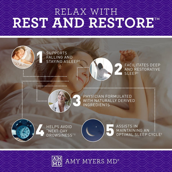 5 ways to relax with Rest and Restore™ - a sleep support supplement - Infographic - Amy Myers MD®