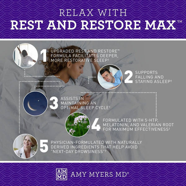 5 ways to relax with Rest and Restore Max™ - Supports Falling & Staying Asleep - Natural Ingredients - Infographic - Amy Myers MD®