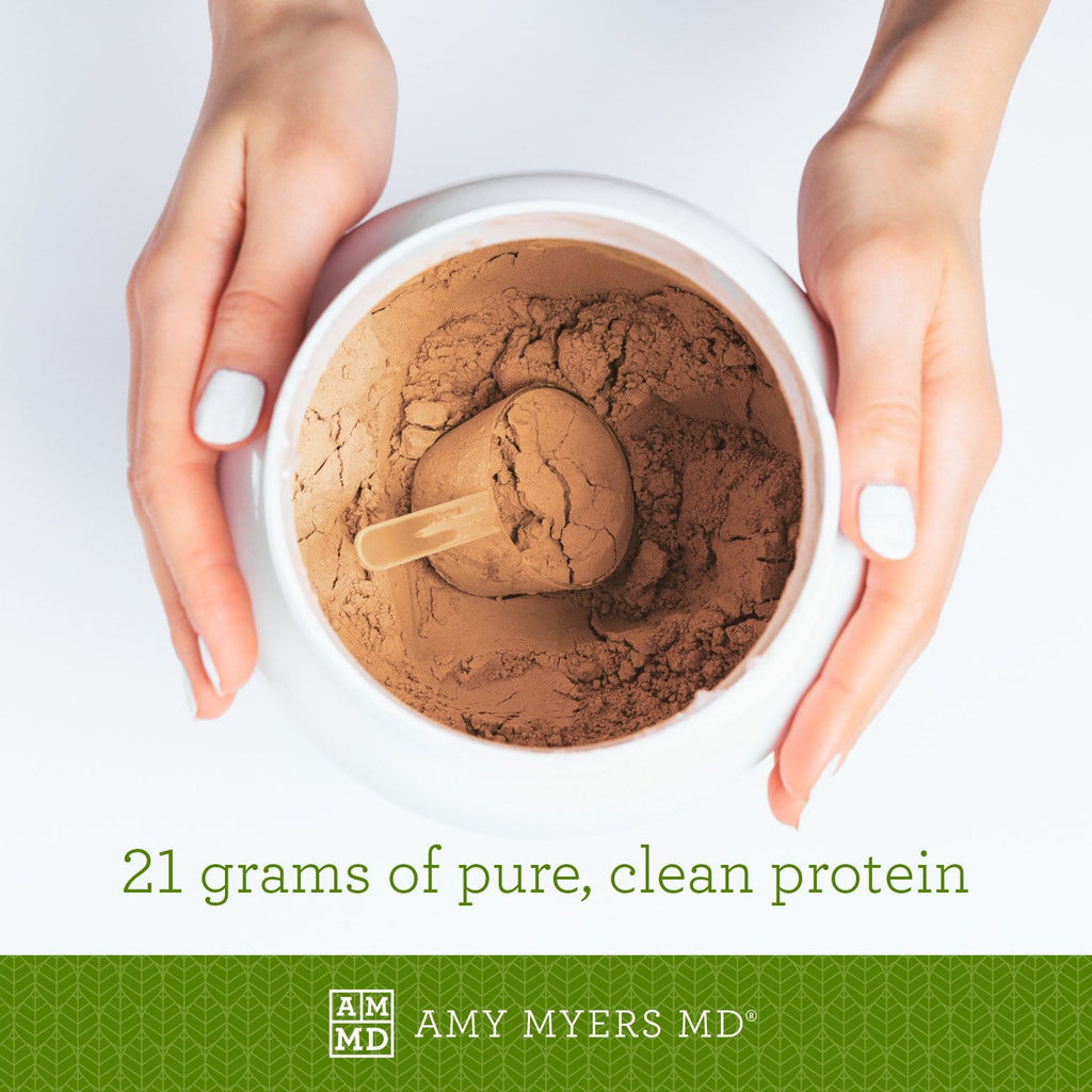 Container of Paleo Protein - Salted Caramel flavor - 21 grams of pure, clean protein - Amy Myers MD®