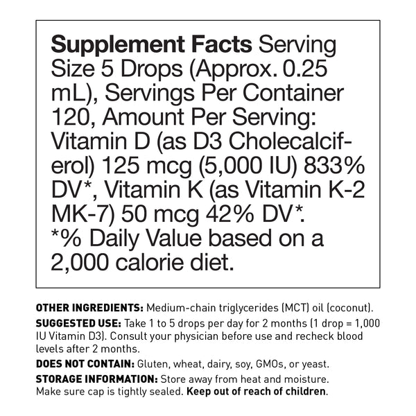 Liquid Vitamin D3 and K2 (MK7) - supplement facts - Amy Myers MD®
