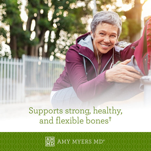 Woman stretching - Vitamin D3 with K2 (MK7) supports strong, healthy, and flexible bones - Amy Myers MD®