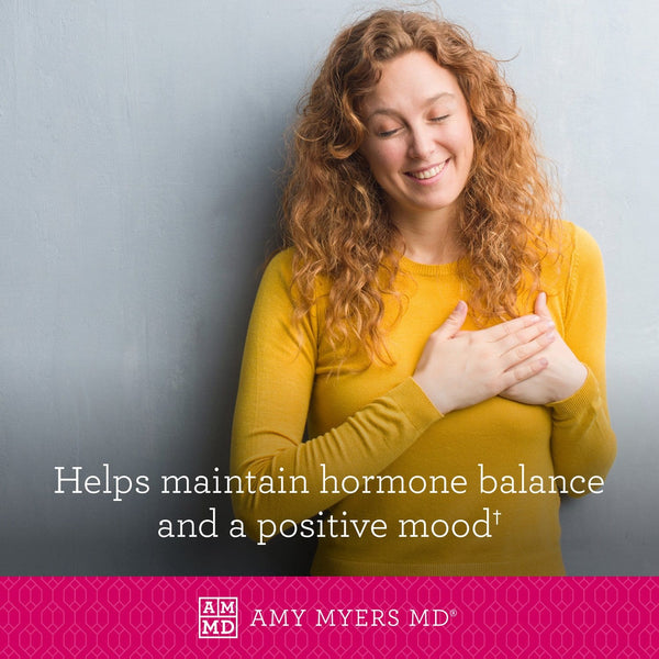 Woman holding her heart - Vitamin D3 with K2 (MK7) helps maintain hormone balance and a positive mood - Amy Myers MD®