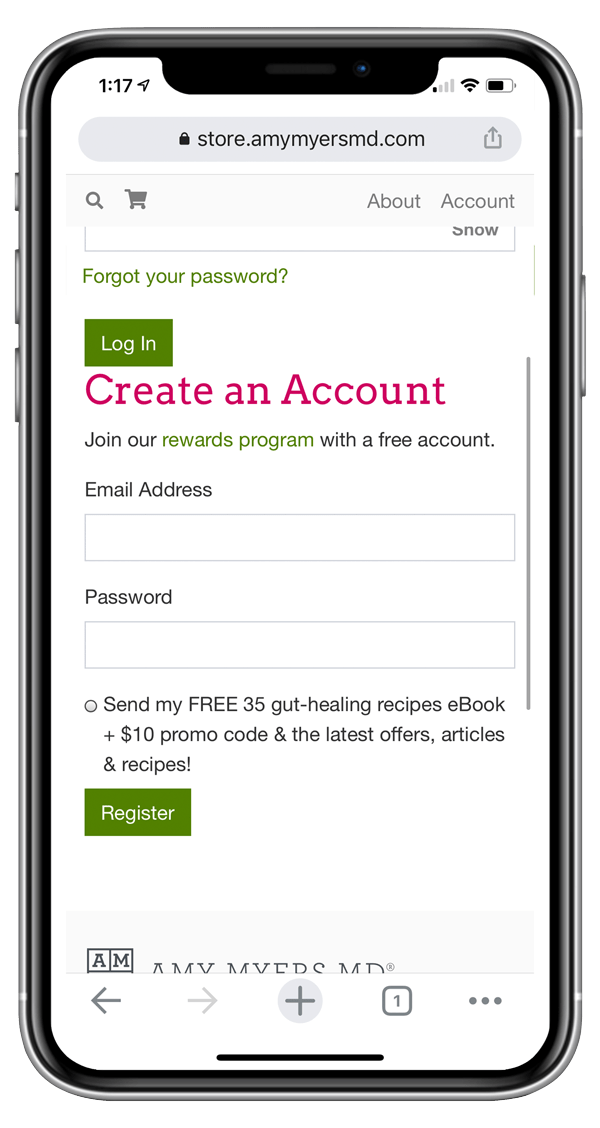 mobile screenshot of where to enter your information to create an account