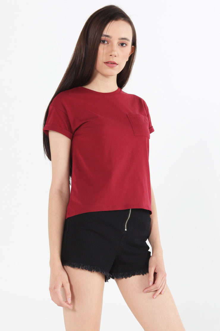 Basic Boxy Fit Tee with Pocket
