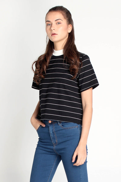 Striped Boxy Tee With Mock Neck
