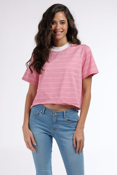 Mock Neck Striped Boxy Fit Top