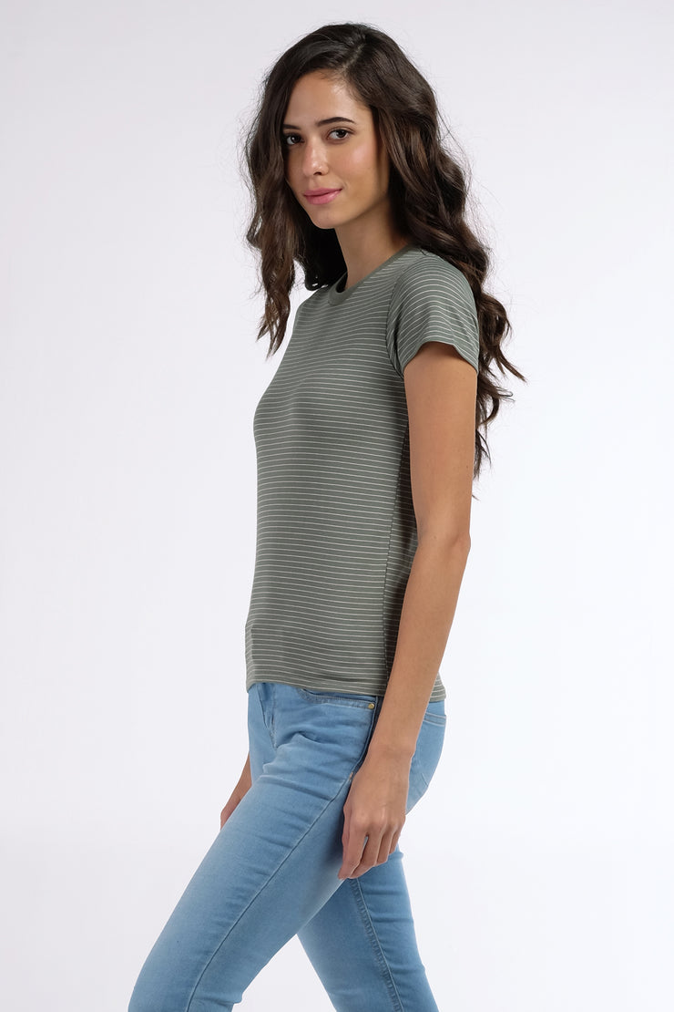 The Dress Code Stripe Crew Neck Tee