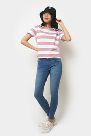 Boxy Regular Fit Top in Thick Stripes