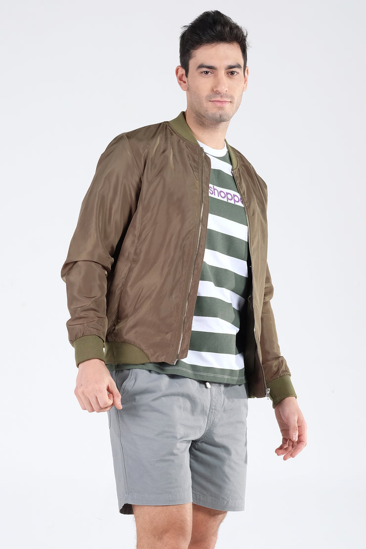 Taffeta Bomber Jacket With Cut And Sew Panel