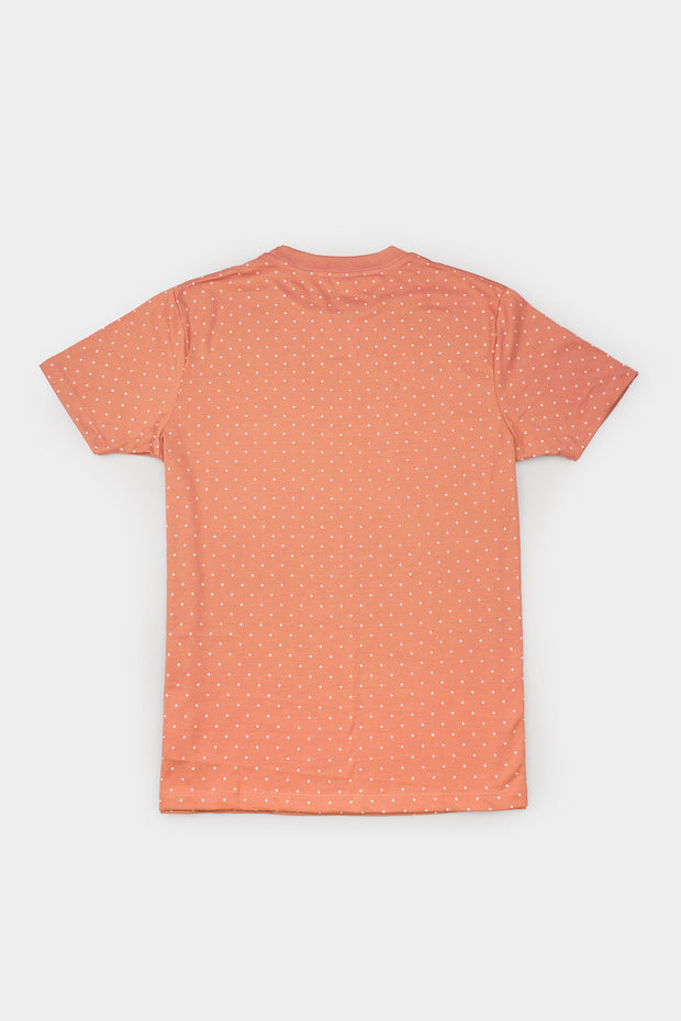 Men's Basic Round Neck Tee with All Over Print