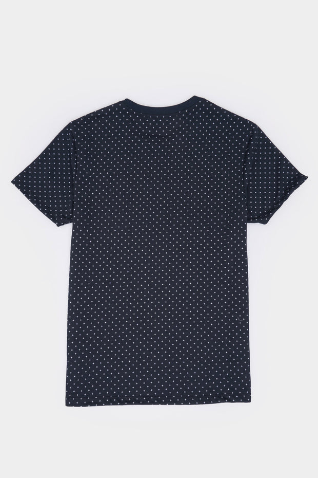 Basic Round Neck Tee with All Over Print