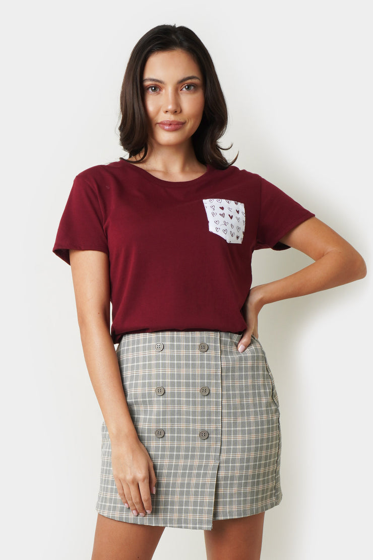 Semi Fit Pocket Tee with Heart Print