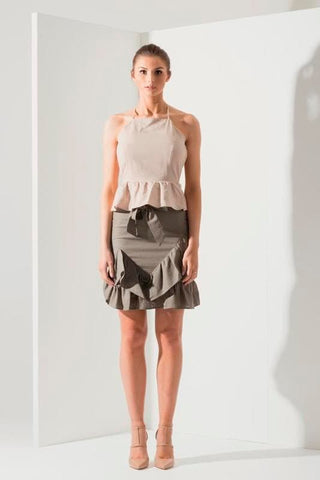 Havana Frill Linen Skirt - Khaki - Alpha-Be The Label