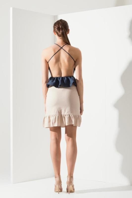 Santa Cruz Backless Top - Navy - Alpha-Be The Label