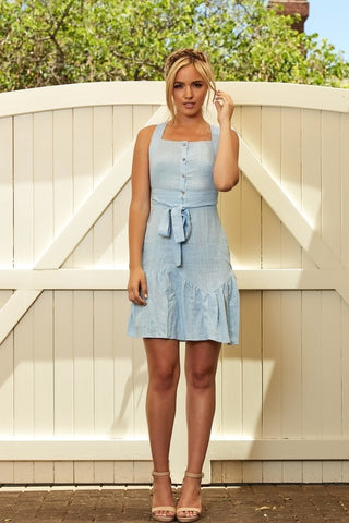 Double Take Linen Dress - Blue - Alpha-Be The Label