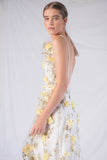 Floating Floral Backless Dress - Yellow - Alpha-Be The Label