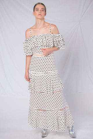Frida Frill Midi Dress - White Polka Dot