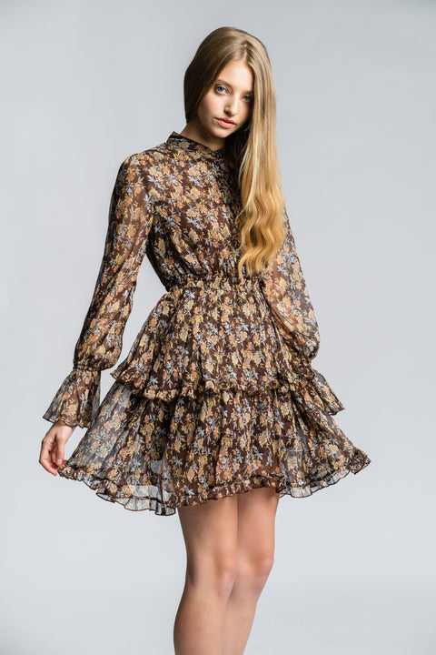 Solange Mini Dress - Brown Floral
