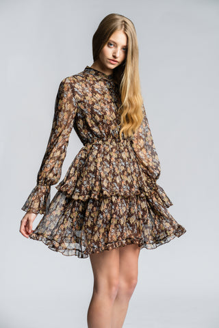 Solange Mini Dress - Brown Floral - Alpha-Be The Label