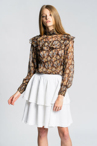 Solange Blouse - Brown Floral - Alpha-Be The Label