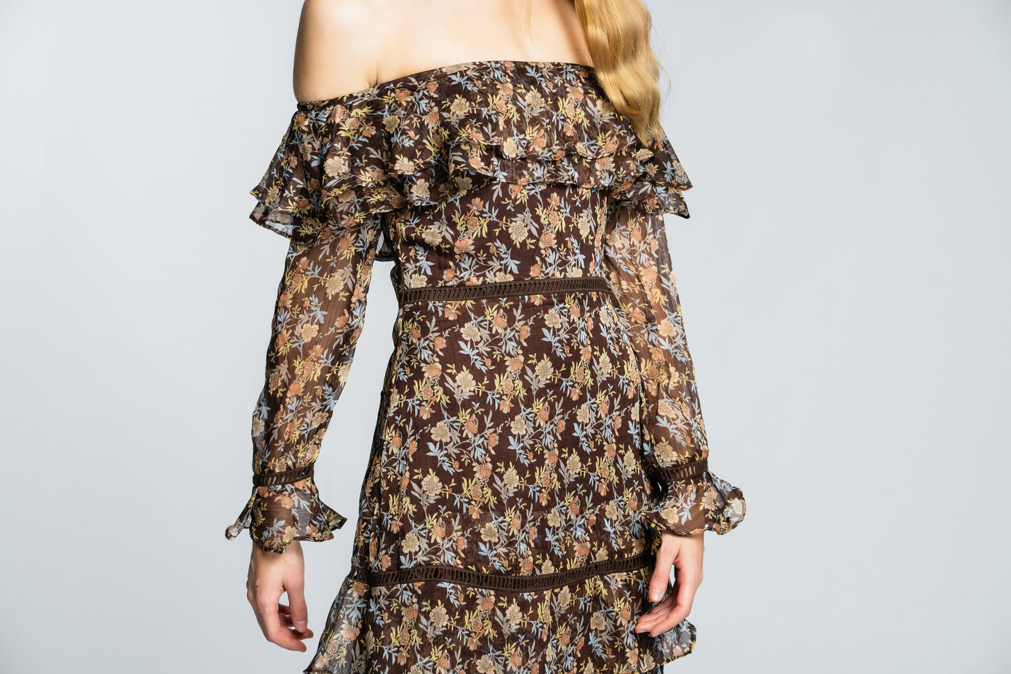Solange Shoulder Midi Dress - Brown Floral - Alpha-Be The Label