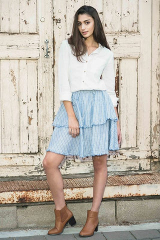 Iris Frill Skirt - Blue Stripes - Alpha-Be The Label