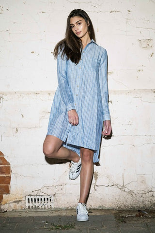 Harper Shirt Dress - Blue Stripes - Alpha-Be The Label