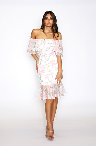 Addison Off the Shoulder Midi Dress