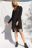 Harper Linen Shirt Dress - Black