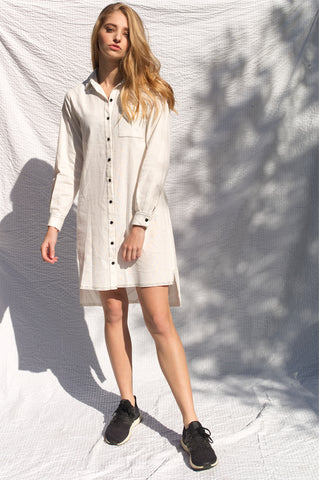 Harper Linen Shirt Dress - White