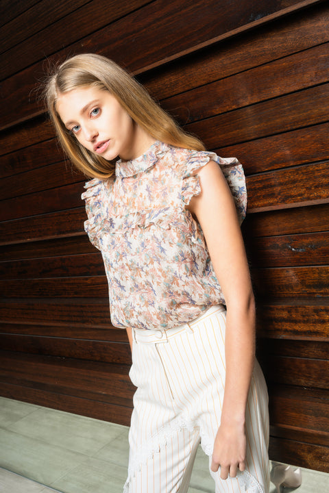 Solange Sleeveless Top - Cream Floral