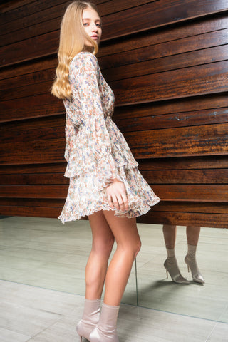 Solange Mini Dress - Cream Floral - Alpha-Be The Label