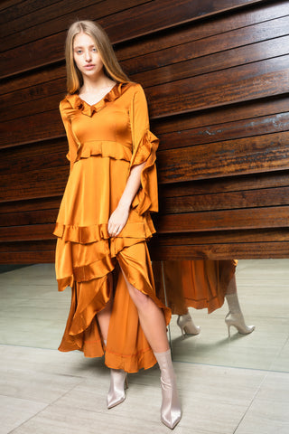 Santori Silk Maxi Dress - Rust Orange - Alpha-Be The Label