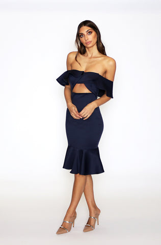 Siren Mermaid Twist Dress - Indigo
