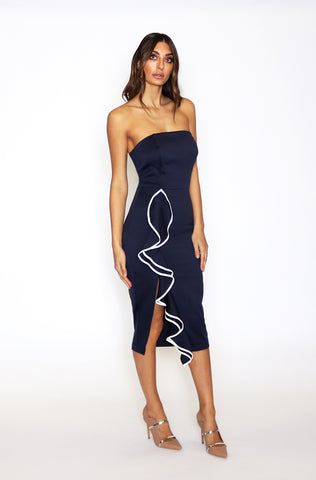 Siren Strapless Midi Dress - Indigo