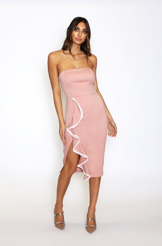 Siren Strapless Midi Dress - Blush Pink